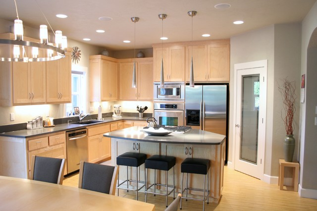 6 Trendy Kitchen Design Ideas - Carnival Custom Painting DFW on blonde maple kitchen cabinets, gray kitchen with oak cabinets, kitchens with blond wood floors, cherry wood kitchen countertops with white cabinets, kitchens black cabinets,